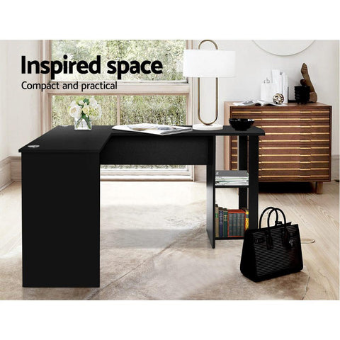 Artiss 'Ronald' Office Computer Desk Corner Student Study Table Workstation L-Shape - Black inspired space