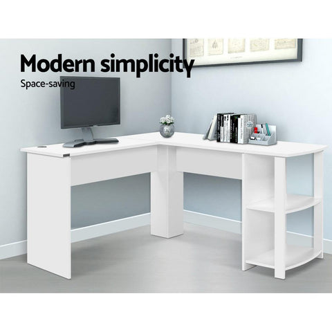 Artiss 'Ronald' Office Computer Desk Corner Student Study Table Workstation L-Shape Shelf - White modern simplicity