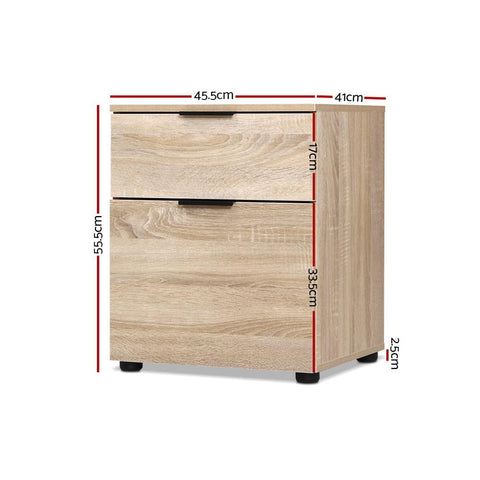 2 Drawer Filing Cabinet Office Shelves Storage Drawers - Wood dimensions