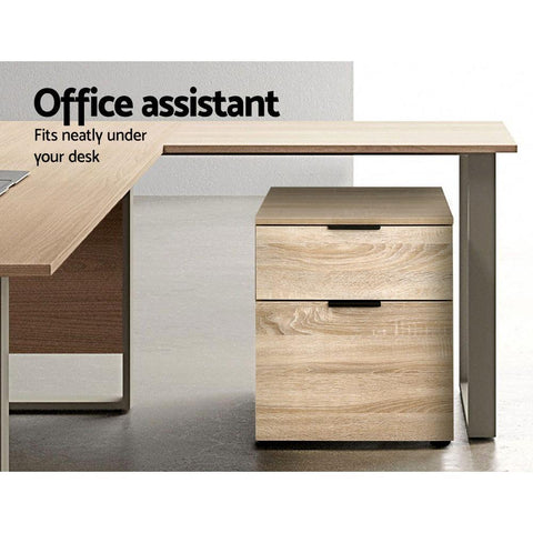 2 Drawer Filing Cabinet Office Shelves Storage Drawers - Wood fits neatly under desk