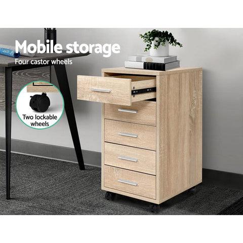 5 Drawer Filing Cabinet - Wood mobile storage for office