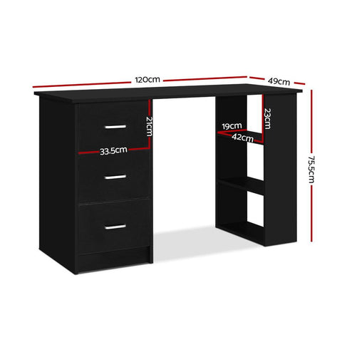 Artiss 'Bobb' Office Computer Desk Student Study Table Workstation 3 Drawers Shelf 120cm - Black dimensions