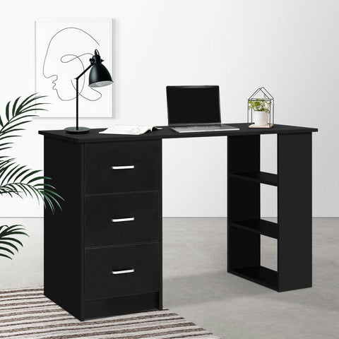 Artiss 'Bobb' Office Computer Desk Student Study Table Workstation 3 Drawers Shelf 120cm - Black lifestyle