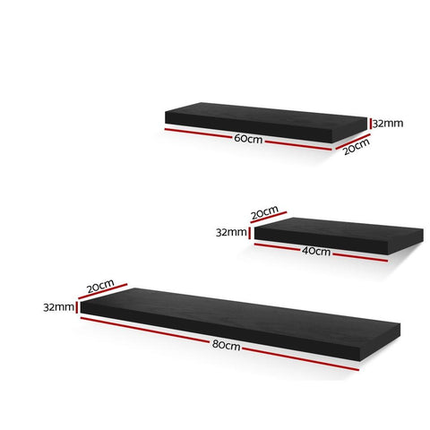 Artiss 3 Piece Floating Wall Shelves - Black dimensions