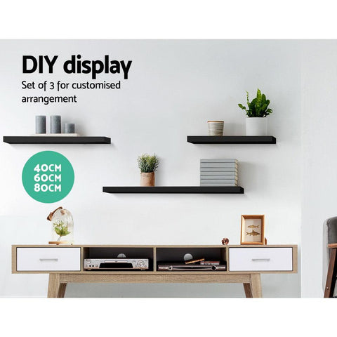 Artiss 3 Piece Floating Wall Shelves - Black diy shelves