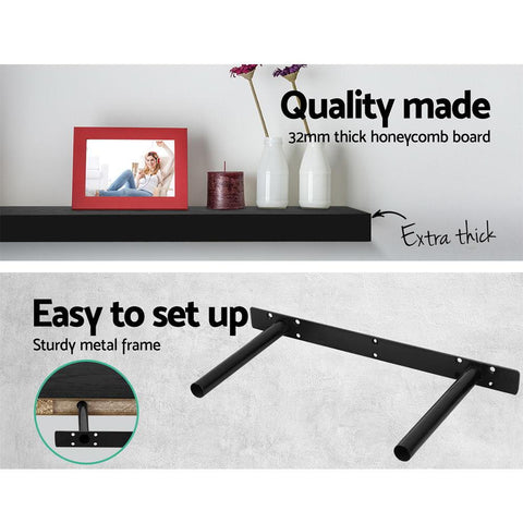 Artiss 3 Piece Floating Wall Shelves - Black easy to set up