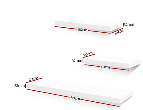 Artiss 3 Piece Floating Wall Shelves - White dimensions
