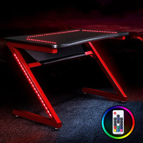 Gaming Desk Office Computer Desks LED - Red/Black red gaming desk