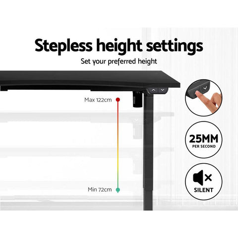 Artiss 'Roskos I' Electric Motorised Height Adjustable Standing Desk Sit Stand Table Curved 140cm - Black stepless height settings