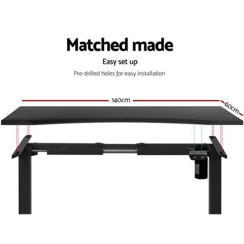 Artiss 'Roskos I' Electric Motorised Height Adjustable Standing Desk Sit Stand Table Curved 140cm - Black matched made