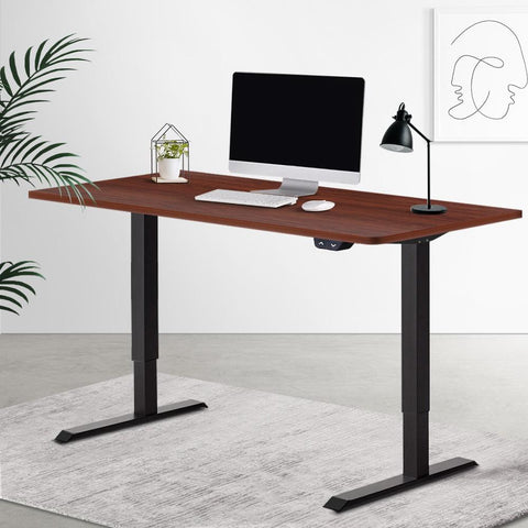 Electric 'Roskos I' Motorised Height Adjustable Standing Desk 120cm Walnut Top with Black Frame