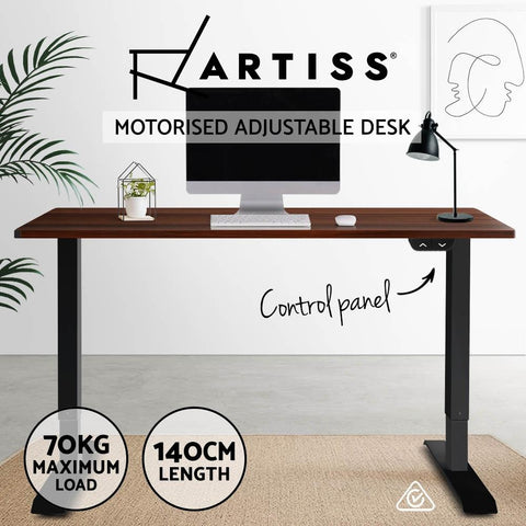 Electric 'Roskos I' Motorised Height Adjustable Standing Desk - Black Frame with 140cm Walnut Top brown standup table