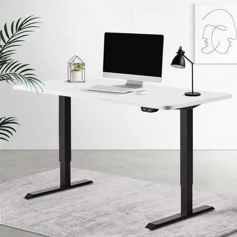 Electric 'Roskos I' Motorised Height Adjustable Standing Desk 120cm White Top with Black Frame