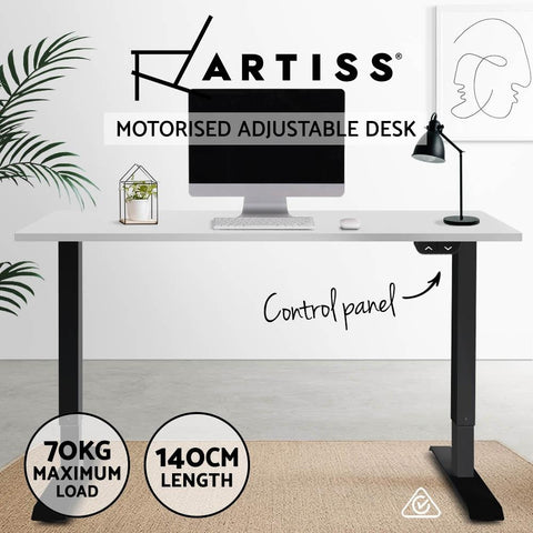 Electric 'Roskos I' Motorised Height Adjustable Standing Desk - Black Frame with 140cm White Top white standup desk