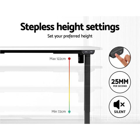 Electric 'Roskos I' Motorised Height Adjustable Standing Desk - Black Frame with 140cm White Top height settings
