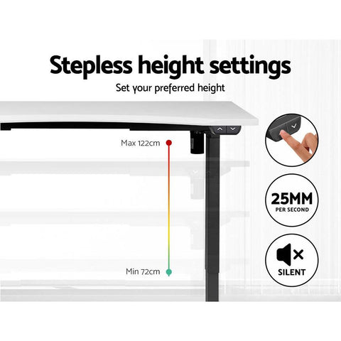 Artiss 'Roskos I' Electric Motorised Height Adjustable Standing Desk 140cm Sit Stand Curved Table - Black/White specific height settings