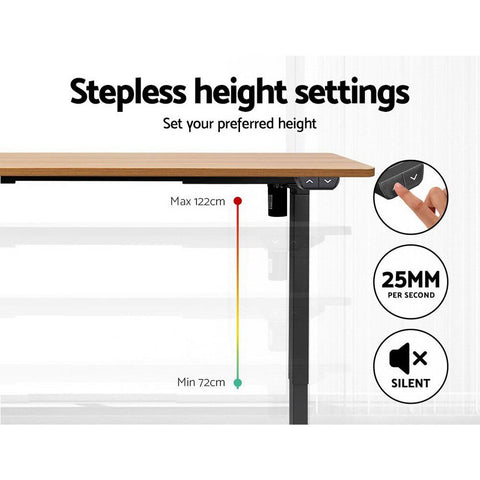 Products Electric 'Roskos I' Motorised Height Adjustable Standing Desk 120cm Natural Oak Top with Black Frame