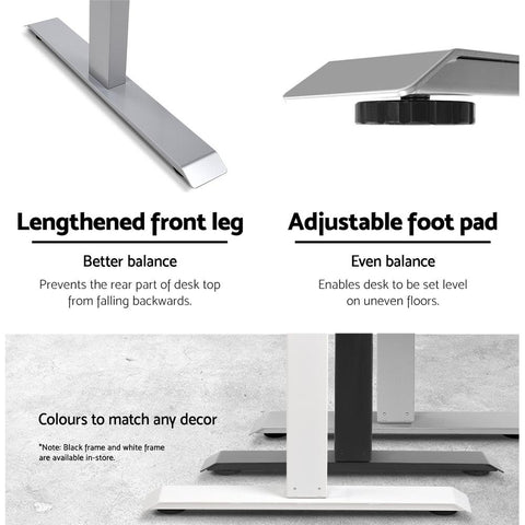 Artiss 'Roskos I' Standing Desk Sit Stand Riser Height Adjustable Motorised Frame Only - Grey features