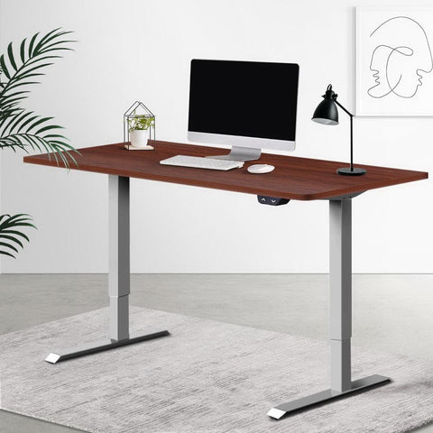 Electric 'Roskos I' Motorised Height Adjustable Standing Desk 120cm Walnut Top with Grey Frame