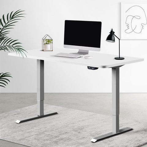 Electric 'Roskos I' Motorised Height Adjustable Standing Desk 120cm White Top with Grey Frame