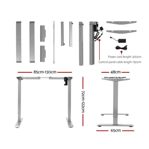 Artiss 'Roskos I' Standing Desk Height Adjustable Motorised Electric Sit Stand Computer Table 140cm - White dimensions