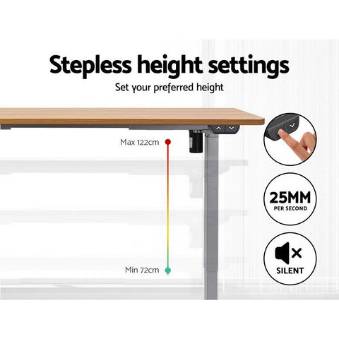 Electric 'Roskos I' Motorised Height Adjustable Standing Desk 120cm Natural Oak Top with Grey Frame