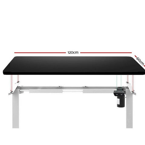 Electric 'Roskos I' Motorised Height Adjustable Standing Desk 120cm Black Top with White Frame