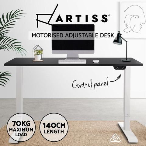 Electric 'Roskos I' Motorised Height Adjustable Standing Desk - White Frame with 140cm Black standup desk