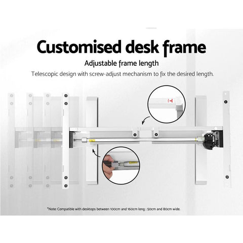 Artiss 'Roskos I' Electric Motorised Height Adjustable Standing Desk Sit Stand Table Curved 140cm - White/Black customised desk frame