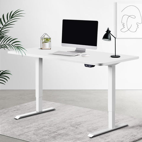 Electric 'Roskos I' Motorised Height Adjustable Standing Desk 120cm White Top with White Frame