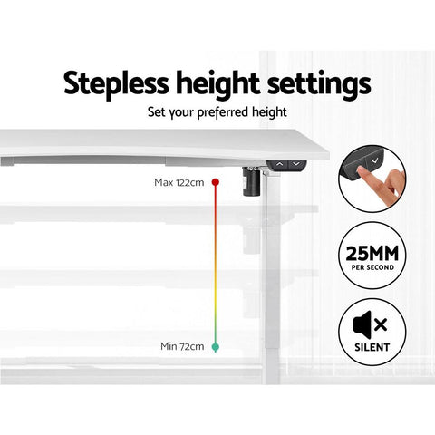 Artiss 'Roskos I' Electric Motorised Height Adjustable Standing Desk Sit Stand Table Curved 140cm - White adjustable height