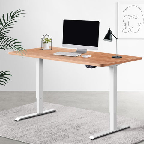 Electric 'Roskos I' Motorised Height Adjustable Standing Desk 120cm Natural Oak Top with White Frame