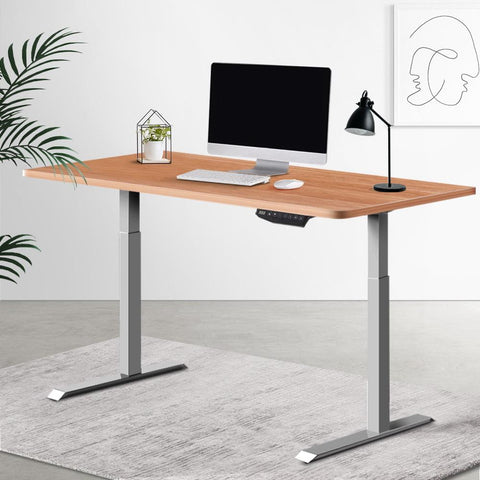 Electric 'Roskos III' Motorised Height Adjustable Standing Desk 120cm Natural Oak Top with Grey Frame