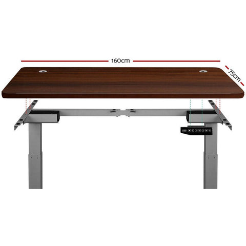 Electric 'Roskos III' Motorised Height Adjustable Standing Desk - Grey Frame with 160cm Walnut Top dimensions