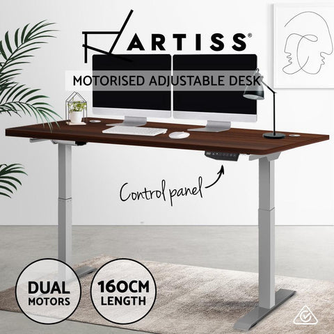 Electric 'Roskos III' Motorised Height Adjustable Standing Desk - Grey Frame with 160cm Walnut sit stand desk