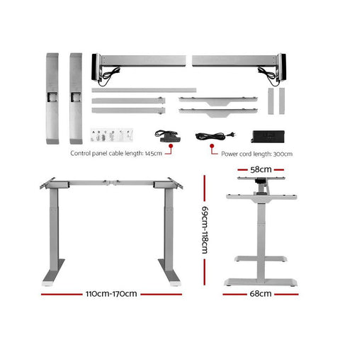 Products Artiss Standing Desk Motorised Height Adjustable Laptop Computer Table Electric Riser Dual Motor 120cm