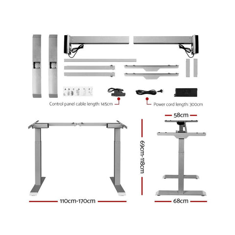 Artiss 'Roskos III' Height Adjustable Standing Desk Sit Stand Motorised Electric - Grey/White dimensions