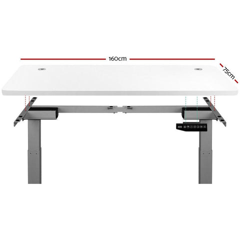 Electric 'Roskos III' Motorised Height Adjustable Standing Desk - Grey Frame with 160cm White Top dimensions