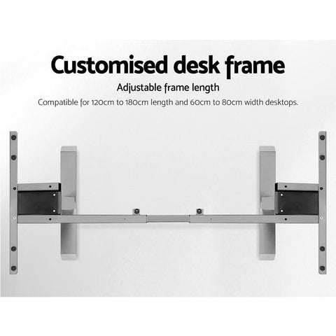 Artiss 'Roskos III' Height Adjustable Standing Desk Sit Stand Motorised Electric - Grey/White Oak customised desk frame