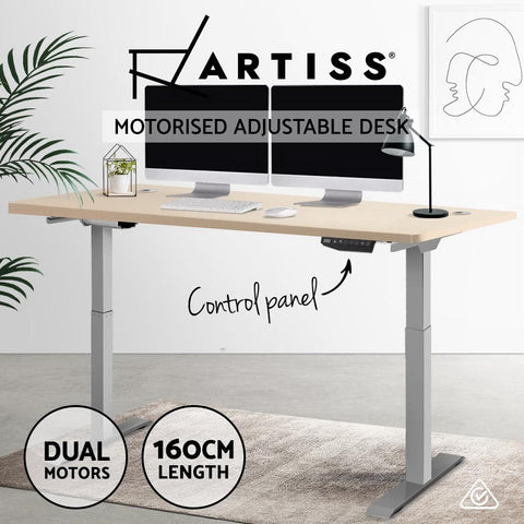 Electric 'Roskos III' Motorised Height Adjustable Standing Desk - Grey Frame with 160cm White standup desk