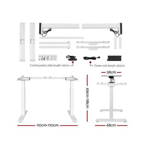 Electric 'Roskos III' Motorised Height Adjustable Standing Desk 120cm Black Top with White Frame
