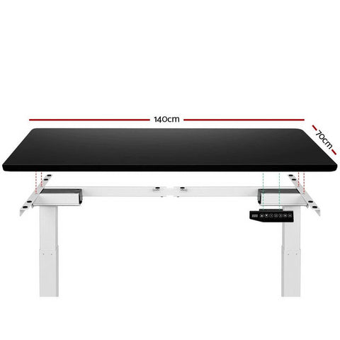 Electric 'Roskos III' Motorised Height Adjustable Standing Desk 140cm Black Top with White Frame