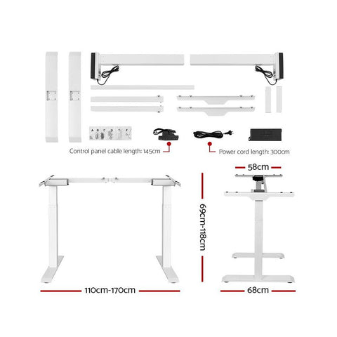 Electric 'Roskos III' Motorised Height Adjustable Standing Desk - White Frame with 160cm Black Top sit stand desk