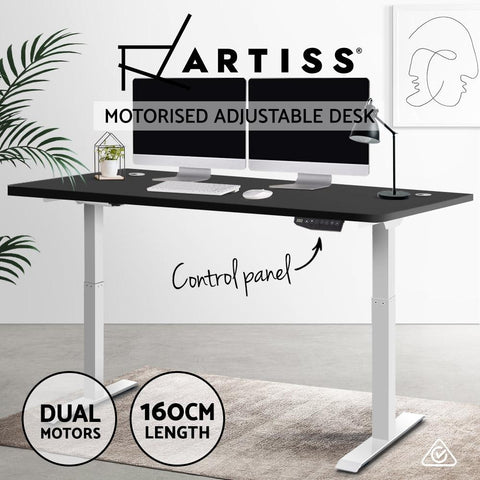 Electric 'Roskos III' Motorised Height Adjustable Standing Desk - White Frame with 160cm Black standup desk