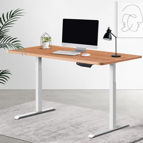 Electric 'Roskos III' Motorised Height Adjustable Standing Desk 120cm Natural Oak Top with White Frame