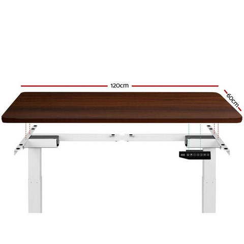 Electric 'Roskos III' Motorised Height Adjustable Standing Desk 120cm Walnut Top with White Frame