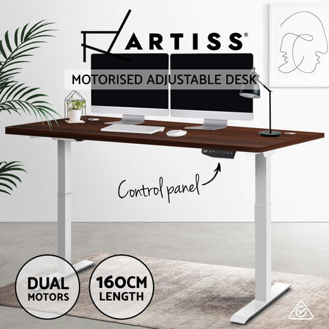 Electric 'Roskos III' Motorised Height Adjustable Standing Desk - White Frame with 160cm Walnut Top sit stand desk