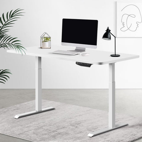 Electric 'Roskos III' Motorised Height Adjustable Standing Desk 120cm Whtie Top with White Frame