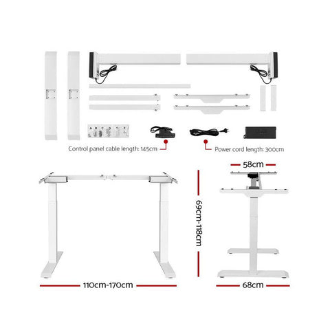 Electric 'Roskos III' Motorised Height Adjustable Standing Desk 140cm White Top with White Frame