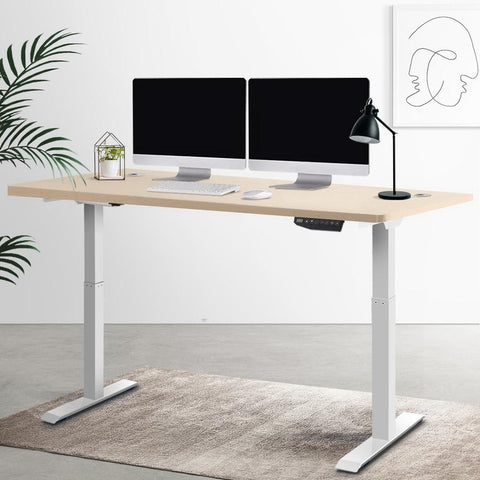 Artiss 'Roskos III' Height Adjustable Standing Desk Sit Stand Motorised Electric - White/White Oak best standing desk Australia